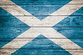 scottish flag on wood