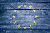 european flag on wood