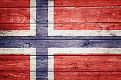 Norwegian flag on wood