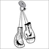 Boxing gloves hang with laces