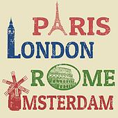 Paris, London, Rome and Amsterdam stamps