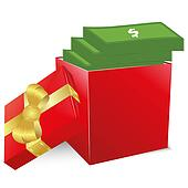 Concept of bonus. Red box with gold bow full of money.