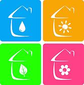 colorful icons of heater, plumbing