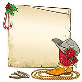 Christmas paper background with horseshoes and cowboy boot