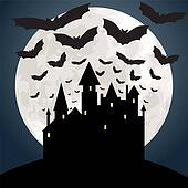 moon, castle and bats