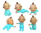 baby 3d different poses