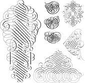 Vector Clipart Fancy Swirl Ornament Set