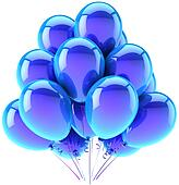Party birthday balloons blue cyan