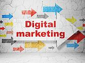 Advertising concept: arrow whis Digital Marketing on grunge wall background