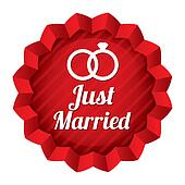 Wedding star. Just married sticker with rings.