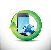 phone and globe technology illustration