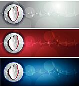 Heart and cardiogram banners