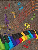 Piano Wavy Border with Colorful 3D Keys and Music Note