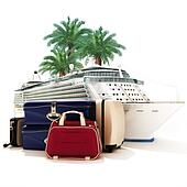 Cruise ship with luggage