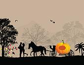 Pumpkin carriage and lovers