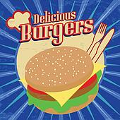 Delicious Burgers vintage poster