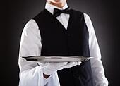 Male Waiter Holding Tray