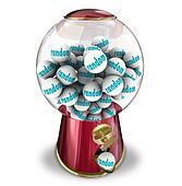 Random Chance Luck Gumball Machine Dispenser