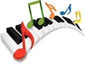 Piano Wavy Keyboard and Music Notes 3D Illustration
