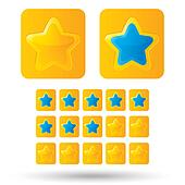 Golden rating stars. Star icons isolated on white