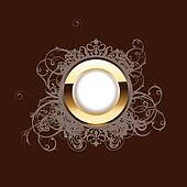 High Ornate Gold Ring On Brown Background.