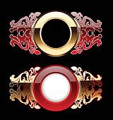 Two Red And Gold Glow Ornate Rings