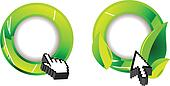 Green Ecology Glossy Ring And Two Computer Cursor