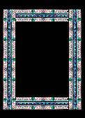 Stained glass frame with floral colored motifs on borders isolated on black (with clipping path)