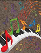 Piano Wavy Border with 3D Keys and Colorful Music Note