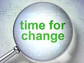 Time concept: Time for Change with optical glass