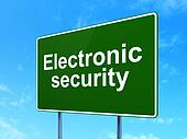 Safety concept: Electronic Security on road sign background
