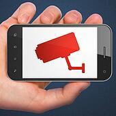 Privacy concept: Cctv Camera on smartphone