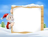Santa Christmas Sign Snow scene