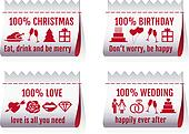 fabric tags for cards, vector set