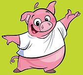 Cartoon happy pink pig character presenting wearing a T-shirt