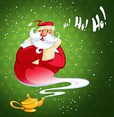 Happy laughing cartoon Santa Claus coming excited out of magic oil lamp making genie gesture in green background with stars