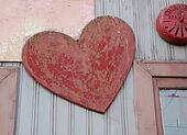 Old wooden heart shape with grunge texture