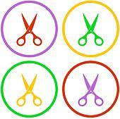 set colorful vector scissors