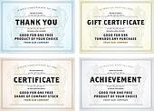 Vector Vintage Gift Certificate Template Set