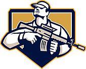 Soldier Military Serivceman Assault Rifle Retro