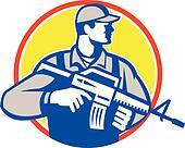 Soldier Military Serviceman Assault Rifle Side Retro