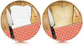 Notebook Cutting Boards with Knife and Tablecloth