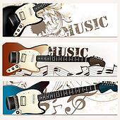 Brochure vector set on music theme with bass guitars