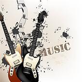 Creative grunge music background with bass guitars