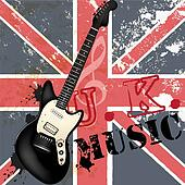 Vector background with detailed bass  guitar on a grunge British flag for design