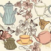 Vector seamless wallpaper with hand drawn cups of tea and lily in vintage style