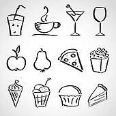 Ink stylesketch set  - food, drinks, ice cream