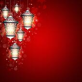 christmas background with shiny lanterns