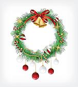 Christmas garland with bells and holly berry