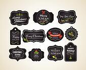 Chalkboard Christmas vintage invitation and labels